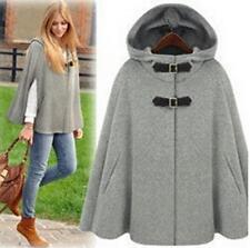womens girls wool cape cloak gery jacket coat hoody trench outwear shawl