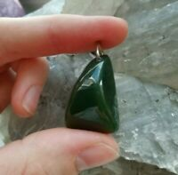 Tumbling Jade PENDANT from Russia, natural Rock 20 x 30 mm / 0,79 x 0,18 inch