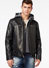 GUESS $195 Men's Black Faux Leather Moto Hooded Jacket Coat Size XL