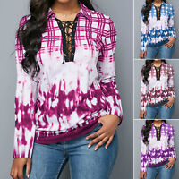 Womens Tie Dye  Lace Up T Shirt Long Sleeve V Neck Casual Blouse Tee Plus Size