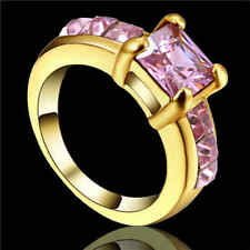 Trendy Pink Sapphire Topaz Women Luxury yellow gold filled Cut Ring Size 7