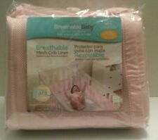 BreathableBaby Crib Bumper Pink, Mesh Crib Liner for Standard Baby Crib New