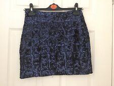BNWT H&M Womens Blue Sequin Lined Short Skirt Size 8