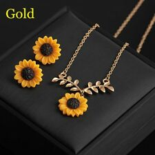 Gold/Silver Flower Earrings Jewelry Set Sunflower Necklace Leaf Branch Pendant