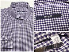 PAL ZILERI Italy 17.5 | 44 Dress Shirt Purple White Check Cotton Gingham