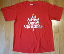 Vintage 90s funny Christmas shirt L string lights stress holiday tree Peacock