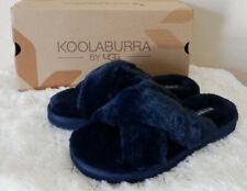 KOOLABURRA BY UGG BALLIA FAUX FUR SLIDE SLIPPERS Navy Size 8 New in Box