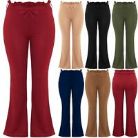 Plus Size Womens High Waisted Cigarette Flared Wide Leg Paper Bag Ladies Trouser