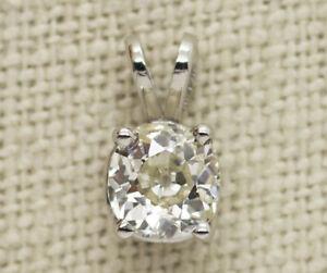 EGL USA Platinum 1.16ct Old Mine Cut Solitaire Diamond Pendant