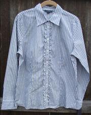 NAUTICA BLUE WHITE STRIPE COTTON LONG SLEEVE BUTTON DOWN DRESS SHIRT TOP 10 NEW