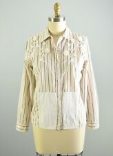 LES COPAINS Floral Embroidered Striped Button Front Shirt Top Size M