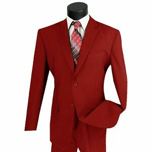 LUCCI Men's Red 2 Button Classic Fit Poplin Polyester Suit NEW