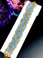 CROWN TRIFARI CRACKLE BLUE GLASS GOLDTONE NUGGET MEDITERRANEAN 3 STRAND BRACELET