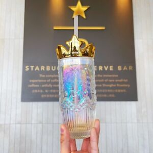 Starbucks Tumbler China 2021 Valentine's Mermaid Golden crown Glass Straw Cup