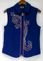 Bob Mackie Size S Festive Embroidered Zip Front Royal Blue Vest A218553