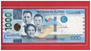 NEW Enhanced 2020 PHILIPPINES 1000 Peso NGC Duterte & DIOKNO Solid EA 555555 UNC
