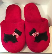 Plush Red Thick Slipper Mules Blk Schnauzer Dog Rubber Btm Med 6-1/2-7-1/2 (ss)