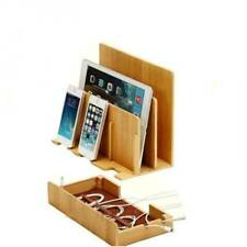 Bamboo Charging Station Multi Device Organizer - Iphone, Laptop, Tablet  NEW US