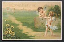 Cupids Bow & Arrow Heart Target Practice Valentine 1910 postcard Sunflowers