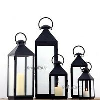 MODERN DECOR BLACK METAL PILLAR CANDLE LANTERN HOLDER LAMP XS/S/M/L/XL/XXL