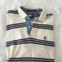 TOMMY HILFIGER Men's Sz M/M Basic Polo Shirt Top Logo,creme gray navy blue