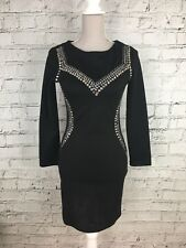 TOPSHOP Black Jersey Style Long Sleeve Jewel Detail Party Mini Dress Size 10