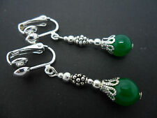 A PAIR OF GREEN JADE DANGLY  CLIP ON EARRINGS. NEW.