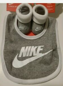 Nike Baby Booties and Bib Set, Size 0-6 Months, Gray, White, Shower Gift