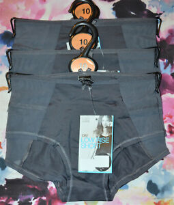 LADIES M&S LOW RISE SHORT KNICKERS 3 PAIR SIZE 10 GRAPHITE - BNWT