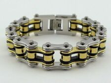Mens Silver/Gold/Black Stainless Steel Motorcycle Biker Chain Bracelet 9 Inches