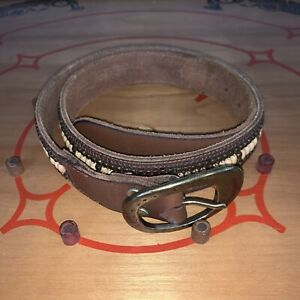 """Lucky Brand Women M Brown Leather Studded Beaded  BOHO Hippie 41"""" L 1.5 W"""