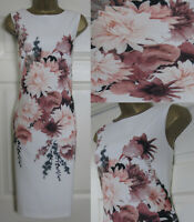 NEW M&Co Floral Print Scuba Bodycon Shift Dress Midi Occasion Ivory Pink 8-20