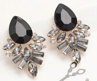 1 Pair Fashion Jewelry Black Crystal Rhinestone Ear Drop Dangle Stud Earrings 63