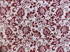 2 Meter WHITE BROWN RED DAMASK PATTEREN STICKY BACK PLASTIC SELF ADHESIVE VINYL