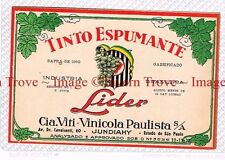 1940s BRASIL Rio Grande Del Sul Viti-Vinicola LIDER TINTO ESPUMANTE Wine Label