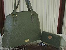 Tommy Hilfiger Dome Satchel Wallet Set Olive Green Handbag Purse NWT MSRP $167