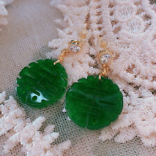 Chinese style Green Chalcedony Earrings 18KGB Ladies gift Luxury jewelry Dangle