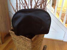 Medium Sized Cosmetic Bag / Accessory Bag -  Black Sateen - 8 x 5 1/2 inches