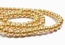 35 Glass Beads Pearl Imitation Champagne Color 6mm - Bd244