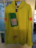 hudson outerwear hoodie  xl yellow zippered sides zippered breast pocket, pouch
