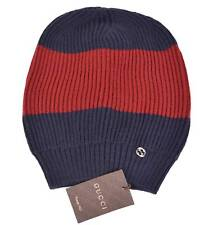 New Gucci Men's 310777 Wool Blue Red Interlocking GG Baggy Beanie Ski Hat