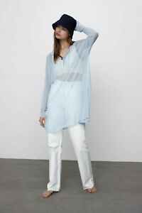 new ZARA Limited Edition light blue knit blouse/tunic,loose,oversized,sheer.S,M