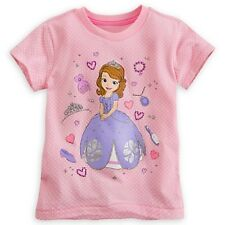 DISNEY STORE SOFIA FIRST DELUXE POLKA-DOT TEE SIZE 7/8 GEM STUD ACCENTS NWT
