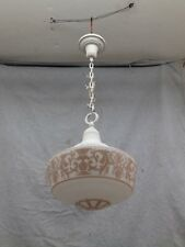 Antique Brass Schoolhouse Bank Ceiling Light Frosted Stenciled Globe Vtg 2375-16