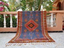 """Moroccan Vintage Handmade wool Rug Bohemian Art 3'8""""x6'7"""" Oriental Purple Carpet"""