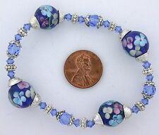 Glass Pewter Stretch Bracelet ms40 Dark Blue Color Floral Flower Lampwork