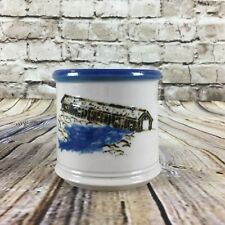Japanese Handmade Pottery Mug Blue & Gray Covered Bridge