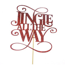 Jingle All The Way Red Glitter Christmas Cake Topper Party Decoration Celebrate