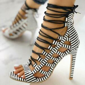 Gladiator Women's Strappy Hollow Stiletto High Heels Lace Up Roman Sandals Shoes