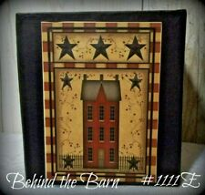 Country Primitive Farmhouse Bath Kleenex Tissue Box Holder Cover Saltbox Stars